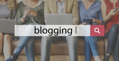 A row of online friends with the word blogging